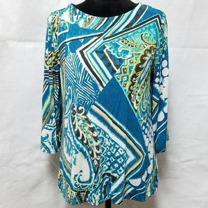 Chicos Abstract Paisley Blue Green 3/4 Sleeve Top